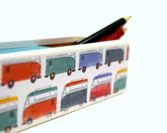 Volkswagen Bus Pencil Case, Pencil Box, Wood Box, Supply Box, Craft supplies, Boho, Van life, Craft Box, School Supplies, Back to school