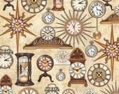 Timeless by Dan Morris for Quilting Treasures - Full or Half Yard of Clocks on Ecru - Hour Glass, Time Pieces, Antique Clocks, Pocket Watch