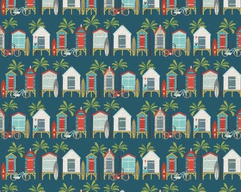 Beach Huts on Blue - Offshore from Riley Blake - Full or Half Yard Offshore Beach Huts on Blue