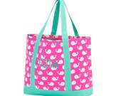 Pink Whale Tote Bag with Mint Trim - FREE Personalization