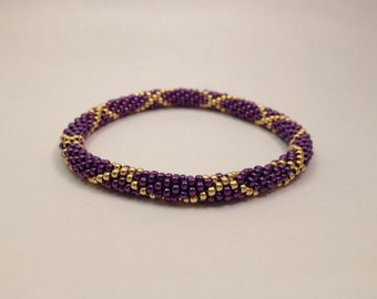 Crochet Bead Bracelet- Royal