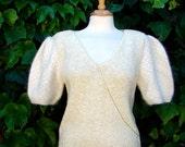 ON SALE Vintage 80s / Creme / V Neck / Puffed Short Sleeve / Angora / New Wave / Sweater / Medium
