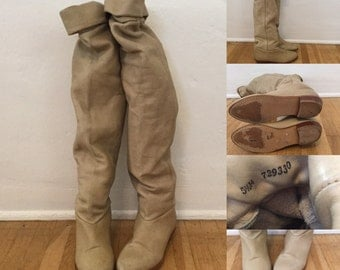Vintage 80s / Slouchy / Tan / Pirate / Tall / Knee / Boots 5 1/2 M