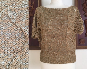 Vintage 70s / Tan And Beige / Knit / Leather / Short Sleeve / Sweater /  Medium / Large