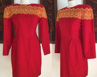 Vintage 80s / Red and Yellow / Long Sleeve / Anntobias / Dress / Medium / Large