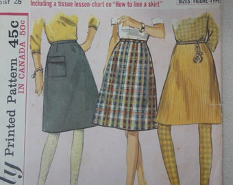 1965 A-line Skirt, Straight Skirt- Vintage 60s Simplicity Sewing Pattern 6139- Teens Size 14T Waist 26, Teen Girls