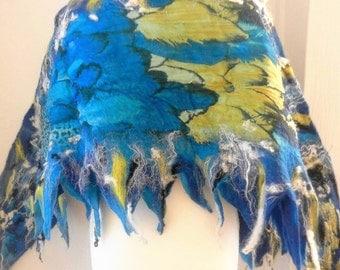 Felted Scarf Nunofelt 100% wool and silk Shawl -wings-