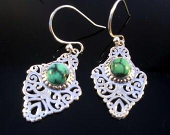 Turquoise Earrings,925 sterling silver,filigree Jewelry,Gemstone earrings,Birthstone jewelry,bridal delicate Jewelry by Taneesi.