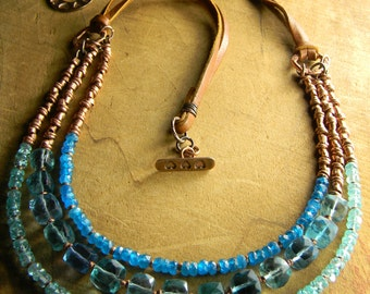 Rustic Southwestern Jewelry Fluorite Necklace Aqua Blue Apatite Copper Multi-Strand