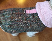 Pink Wool Boucle with Sherpa Liner Small Dog Harness Jacket