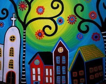 Mexican Tree of Life House Town Whimsical Painting PRINT by Pristine Turkus