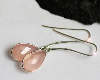 Rose Garden - Faceted Rose Quartz Drop Sterling Silver Earrings