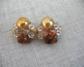 Vintage Cluster Earrings ~ Clip On ~  Amber & Crystal AB Beads