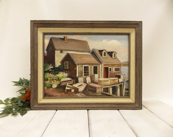 Vintage Maritime Coastal Oil Painting--- Lobsterman's Shack--- New England Coastal Scene