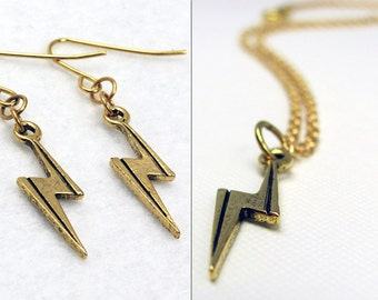 Gold Lightning Bolt Jewelry Set - Lightning Bolt Earrings & Lightning Bolt Necklace. Boy Wizard Jewelry Set. Fallout Jewelry. Ms Marvel.