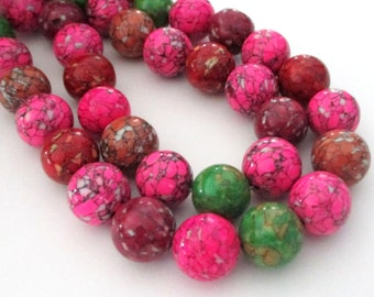 "Assorted Color Round Beads - Mosaic Round Beads - Ball Smooth Stone Beads - 12mm - 16"" Strand - Red Green Pink Brown - DIY Jewelry Beading"