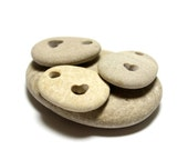 Beach Stones Engraved Hearts : Natural River Pebbles Jewelry Stones Set of Three Heart River Rock Beach Focal Stones Diy Jewelry