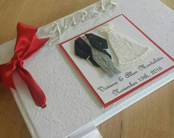 Personalized Bride and Groom Wedding Guest Book Red Accent