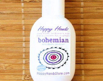 Bohemian Modern Amber - Scented Hand Cream for Knitters - 1oz Refillable Tottle HAPPY HANDS Shea Butter Hand Lotion Paraben Free