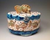Carol custom order/Jewelry box/fish box/pottery box/storage box/handmade box/fish art