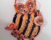 decorative wall tile/bee/bumble bee/ceramic tile/handmade tile