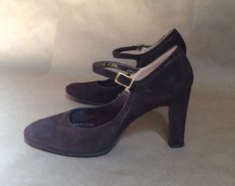 gorgeous vintage 1970's sweetest brown suede Mary Janes womens shoes heels