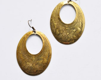 Vintage Etched Brass Hoop Dangle  Earrings
