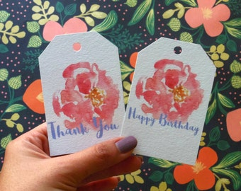 Gift tag add on, Happy birthday tag, Thank you tag