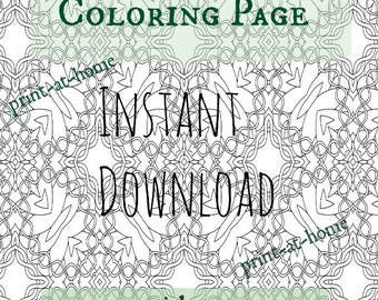 Adult Coloring Download Celtic Knot work Zentangle Printable Coloring Sheet