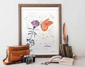 Watercolor Butterfly Painting Art Print Wall Art Insect Art Watercolor Print Butterfly Painting Inspirational Gifts Housewarming Gift
