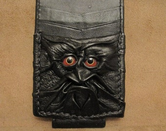 Grichels leather money and card clip - black with red and yellow bird eyes