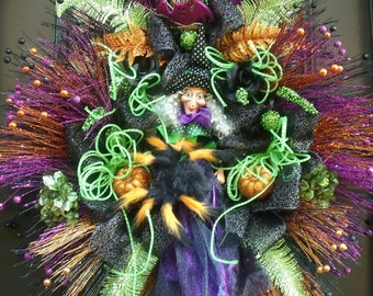 XXL Witch Wreath, Witch Halloween Wreath, Halloween Door Wreath, Halloween Party Decor, Halloween Decoration, For Big Doors