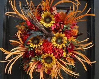 Sunflower Wreath, Fall Wreath, Fall Decor, Front Door Wreath Fall, Wild Fall Wreath, Thanksgiving Wreath, XL Fall Wreaths