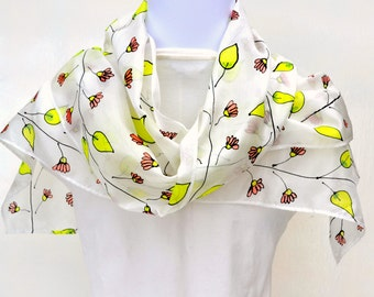 Hand Painted Silk Scarf, Flowers, Scarf, 62 x 10 inches, Made in Australia, Ready to Ship, Gift for her, SallyAnnesSilks  HP15