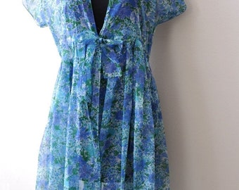 ON SALE Vintage 1950s Blue Floral Shift Dress with Chiffon Shell size XS/S 30 Inch Waist