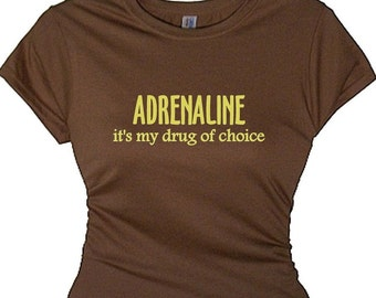 Workout Fitness Tee ADRENALINE  Power Fitness Training T-Shirt Exercise T-Shirt Working Out T-Shirt Funny Sayings Clothing Fitness Quotes