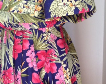 Vintage late 70's Tropical Shirt dress S/M