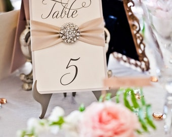 SAMPLE - Table Numbers with Ribbon & Crystal Broach