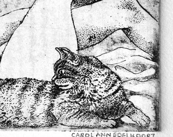 copperplate etching titled 'Lovers with Feline', 2 women and a cat
