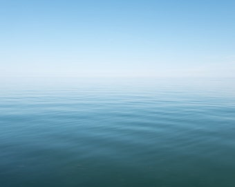 Still Waters ||| Blue Seascape Photography | Abstract Seascape | Minimal Art | Large Abstract Art Print | Turquoise Beach Art | Lake Ontario
