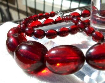 "Art Deco Cherry Amber Bakelite Necklace Oval Beads Long Length 30"" Vintage"