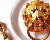 Signed ART Lion door knocker goldtone necklace