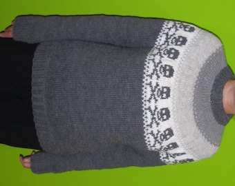 Halloween sweater in grey shades-made to order