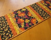 Quilted Table Runner with Pumpkins, Fall Table Runner, Handmade Tablerunner, Fall Decor, Home Decor,