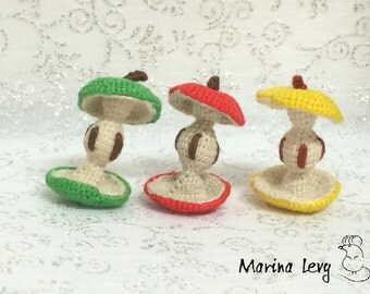 Crocheted amigurumi Apple Core