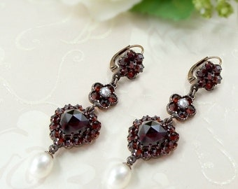 Vintage garnet heart earrings with seed pearls Victorian style || ГРАНАТ 9H39WPK