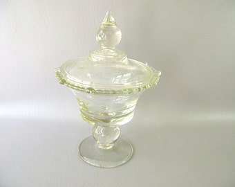 Vintage covered compote, pedestal, clear glass, etched, large