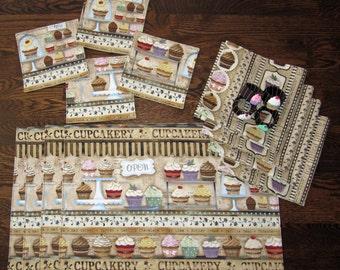 Cupcake Placemat Napkin and Coaster Set of 4