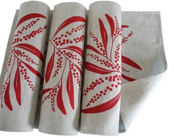 Linen Placemats Screen Printed Linen Place Mats Handprinted Linen Table Mats Red&Natural Australian Wattle (set of 4)