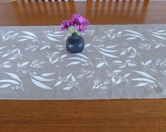 Linen Table Runner Hand Screen Printed White&Natural Australian Plants